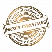 Merry Christmas Grunge Rubber Stamp Gold Style
