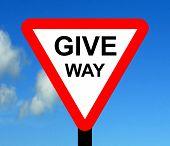 Warning triangle GIVE WAY sign