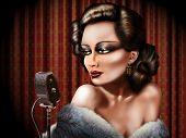 picture of serenade  - Retro illustration of a woman singing into a microphone - JPG