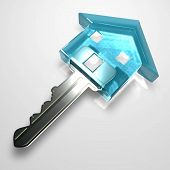 Isolated Blue Plastic Transparent Key