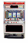 stock photo of slot-machine  - isolated slot machine on a white background - JPG