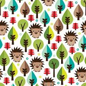 Seamless retro hedgehog illustration kids background pattern in vector