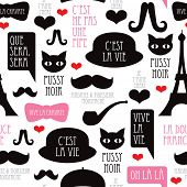 Seamless paris moustache mustache pattern french background in vector