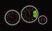 stock photo of speedo  - Illustration of a fast car speedometer with green details - JPG