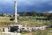 image of artemis  - One column and ruins of Artemis temple in Celcuk Turkey - JPG