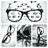 collage of some different pictures about optometry and eyeglasses