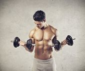 Muscular man raising two dumbbells