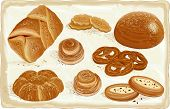 Illustration of baked goods and bread products. All objects are grouped. EPS8