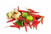 Thai Food Ingredient Isolated On White Background