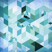 Abstract geometry blue vector grunge background