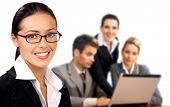 stock photo of people work  - Business woman and business people working with laptop - JPG