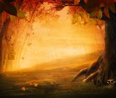 pic of halloween  - Autumn design - Forest in fall. Autumn valley with mushrooms Falling leaves and bird house in he background. Space for your autumnal text.