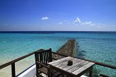 stock photo of dhoni  - Restaurant on the beach in the Maldives Indian Ocean - JPG