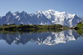 stock photo of mirror  - Mont Blanc reflected in Cheserys Lake Mont Blanc Massif Alps France - JPG