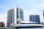 picture of ski boat  - A view of a yacht and towers at the beautiful Marina in Zaitunay Bay in Beirut Lebanon - JPG
