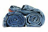 Rolled Up Blue Denim Jeans