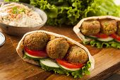 foto of pita  - Organic Falafel in a Pita Pocket with Tomato and Cucumber - JPG