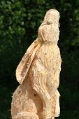 Head of wooden hare carving