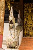 Naga Staircase And  Old Ubosot Lanna Style In Wat Buak Krok Luang , Chiangmai Thailand