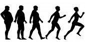 Illustrated silhouette sequence of a man losing weight and gaining fitness through exercise