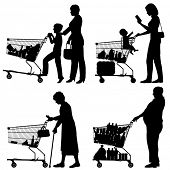 Illustrated silhouettes of people and their supermarket shopping trolleys