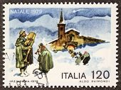 ITALY - CIRCA 1979: a stamp printed in Italy celebrates Christmas showing bagpiper near a church. Italy, circa 1979