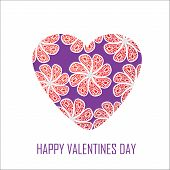 Purple Heart With Red Flowers For Valentine's Day, For Design And For Other Purposes
