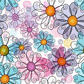 image of lilas  - Seamless spring grunge spotty floral pattern with colorful flowers and transparent butterflies  - JPG