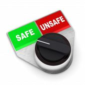 stock photo of unsafe  - A Colourful 3d Rendered Safe Vs Unsafe Concept Switch Illustration - JPG