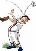 picture of little-league  - Cartoon of a little league baseball player missing a catch - JPG