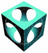 Geometric Subtraction Of Cube And Sphere Vector