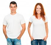 young man and girl in white T-shirts isolated on white background