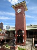 Historic Confucius Statue Below Chinese Clock Tower In Maunakea Marketplace Chinatown