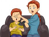 Illustration of a Mom Covering Her Son's Eyes While Watching TV