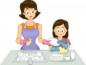 Illustration of a Mom and Her Daughter Washing Dishes Together