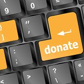 Donate Button On Computer Keyboard Pc