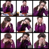 Young Stressed Businesswoman At Desk Collage