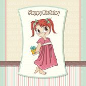 picture of explicit  - pretty young girl she hides a gift vector illustration - JPG