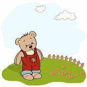 Customizable Childish Card With Funny Teddy Bear