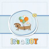 Baby Boy Shower Card With Long Dog And Balloons