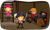 stock photo of pirate girl  - Illustration of Little Kids Preparing to Fire a Cannon - JPG