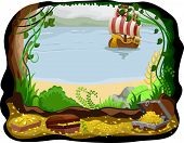 Illustration of a Pirate Ship Visible from a Cave Filled with Treasure