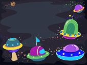 Illustration Featuring Colorful UFOs Hovering in Space