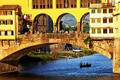 Sunset light over Ponte Vecchio, Arno River, Florence, Italy,Europe