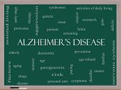 Alzheimer's Disease Word Cloud Concept On A Blackboard
