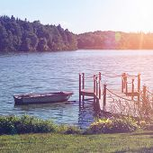 image of dock a pond  - Pond with Boat Dock on Sunny Day - JPG