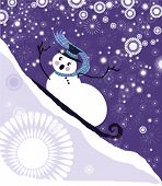 funny snowman on sled With snowflakes vector