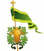 Green Crest And Flag