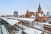 GDANSK, POLAND - 27 JAN 2014: Main railway station in the city center of Gdansk on 27 January 2014.