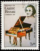 GUINEA CIRCA 1985: A stamp printed by Guinea, shows musician and composer Frederic Chopin, circa 198